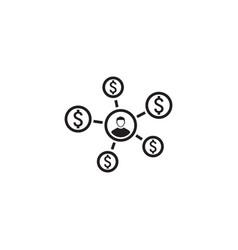 Personal income icon flat design vector