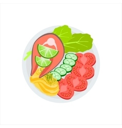 Salmon grilled steak and side of fresh vegetables vector