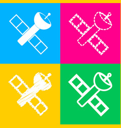 Satellite sign four styles of icon vector