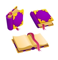Set of cartoon purple book vector image