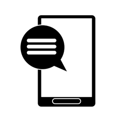 Silhouette smartphone communication bubble speech vector