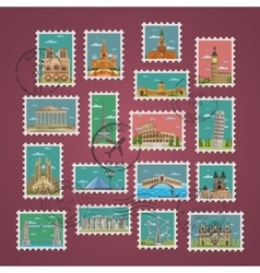 Stamps with famous architectural compositions vector