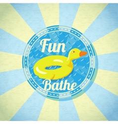Summer fun sea rubber duck vector