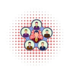 Team management icon comics style vector