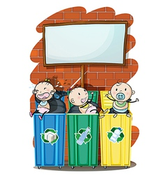 Three kids in the trashbins below the empty vector image