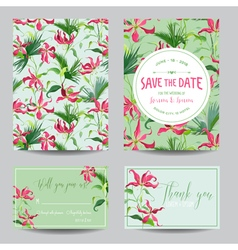 Tropical Flowers and Leaves Wedding Invitation vector image vector image