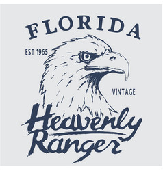 vintage label with eagle head vector image