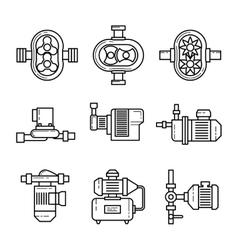 Water pump line icons sets vector image vector image
