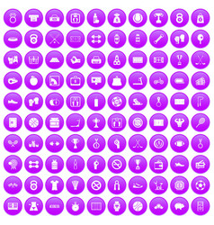 100 basketball icons set purple vector