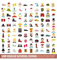 100 vogue school icons set flat style vector