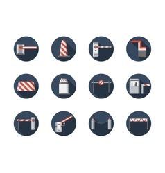 Road barriers round flat icons set vector