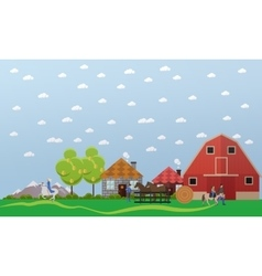 Large horse farm banner in flat design vector