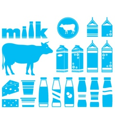 Set icons of milk vector