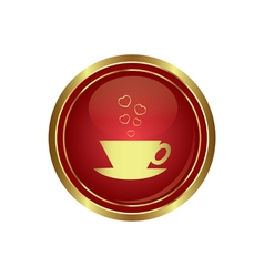 Cup with hearts dating icon vector