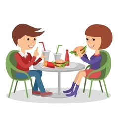 Girl and boy eating fast food vector