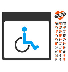 Handicapped calendar page icon with valentine vector
