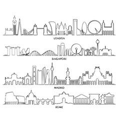Cityscape building line design vector