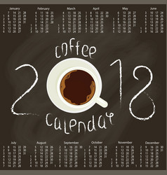 Calendar 2018 with coffee vector