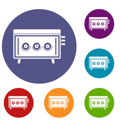Cd changer icons set vector