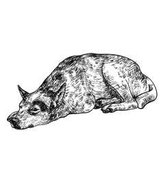 Sleepy lonely dog vector