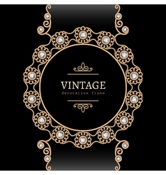 Gold jewelry round frame vector image