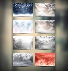 Winter Backgrounds Set vector image