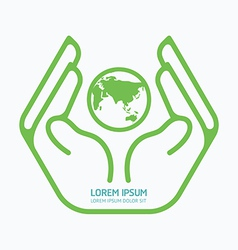 Hand holding world logo design safety care vector