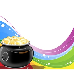 Leprechaun pot of gold on rainbow background vector