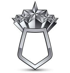 3d heraldic template with five pentagonal silver vector
