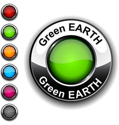 Green earth button vector