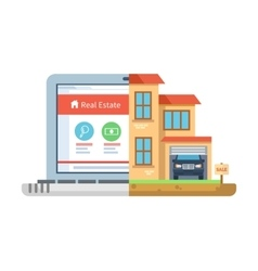 Real estate laptop building flat style vector