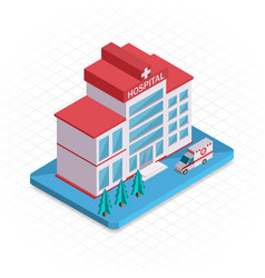 Hospital building isometric 3d pixel design icon vector
