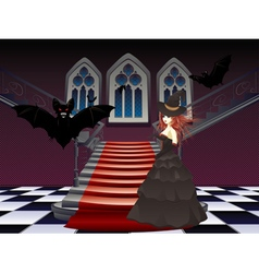 Gothic stairs and witch6 vector