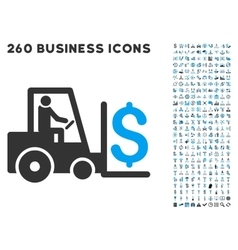 Money warehouse icon with flat set vector