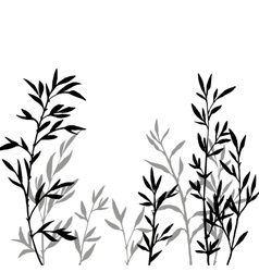 Thicket of bamboo branches with leaves vector