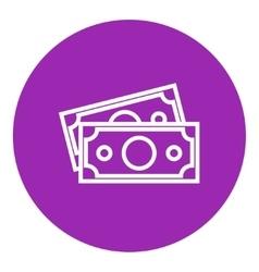 Money banknotes line icon vector
