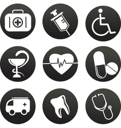 collection of medical themed icons  black white vector image