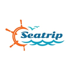 Yacht helm wheel logo with marine sea waves and vector