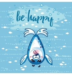 Be happy cute card with cartoon baby seal vector
