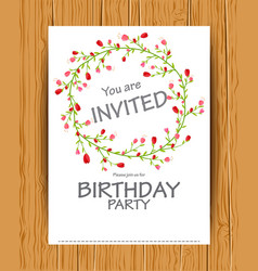 Birthday invitation card with beautiful flower vector
