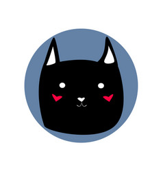 Black cute cartoon style cat shape blue circle vector
