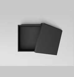 black open empty squares cardboard box top view vector image