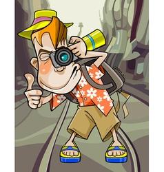 cartoon funny guy tourist photographs vector image