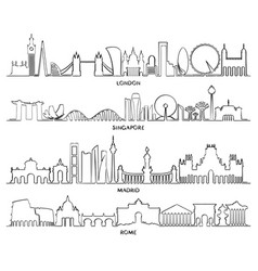 cityscape building line design vector image vector image