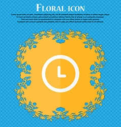 clock icon Floral flat design on a blue abstract vector image