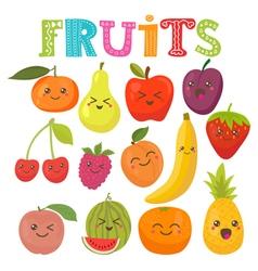 Cute kawaii smiling fruits Healthy style vector image