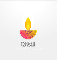 Diwali festival diya in floral deocration design vector
