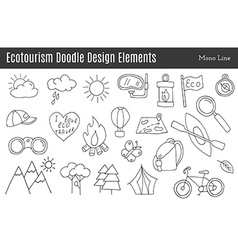 Ecotourism design elements isolated vector