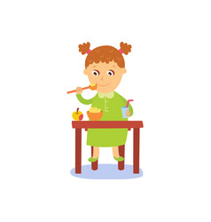 Flat girl eats apple and porridge vector