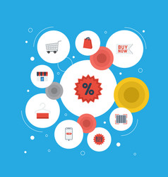 flat icons purchase trolley buy now and other vector image vector image